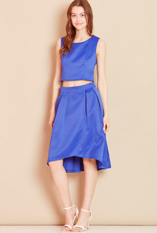 QUEENIE<BR> Hi-Low Skirt in Blue