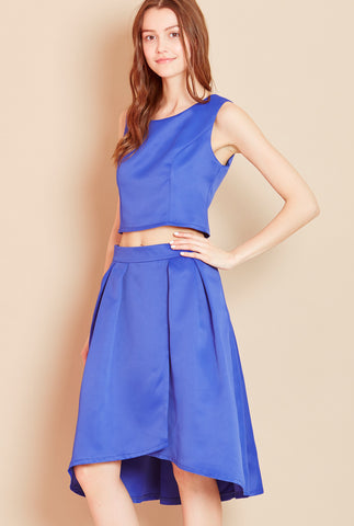 SHOW OFF<BR> Sleeveless Crop Top in Blue