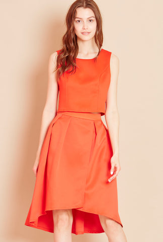 SHOW OFF<BR> Sleeveless Crop Top in Orange
