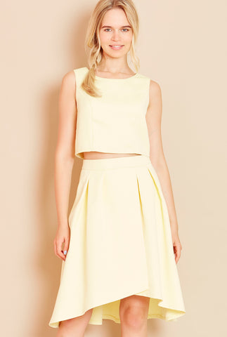 SHOW OFF<BR> Sleeveless Crop Top in Yellow