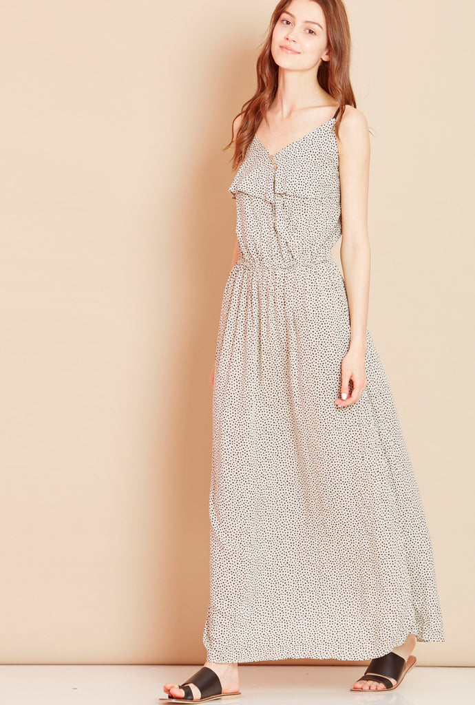 SKYFALL<BR> Star Print Maxi Dress in White