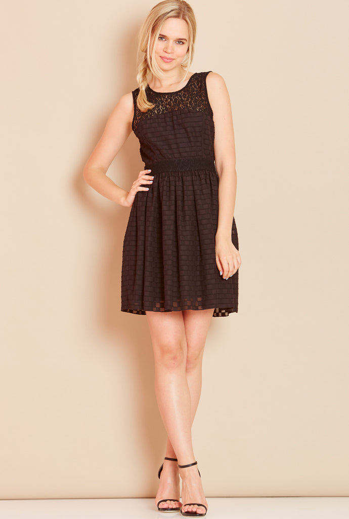SWEET SORBET<BR> Waffle Skater Dress in Black