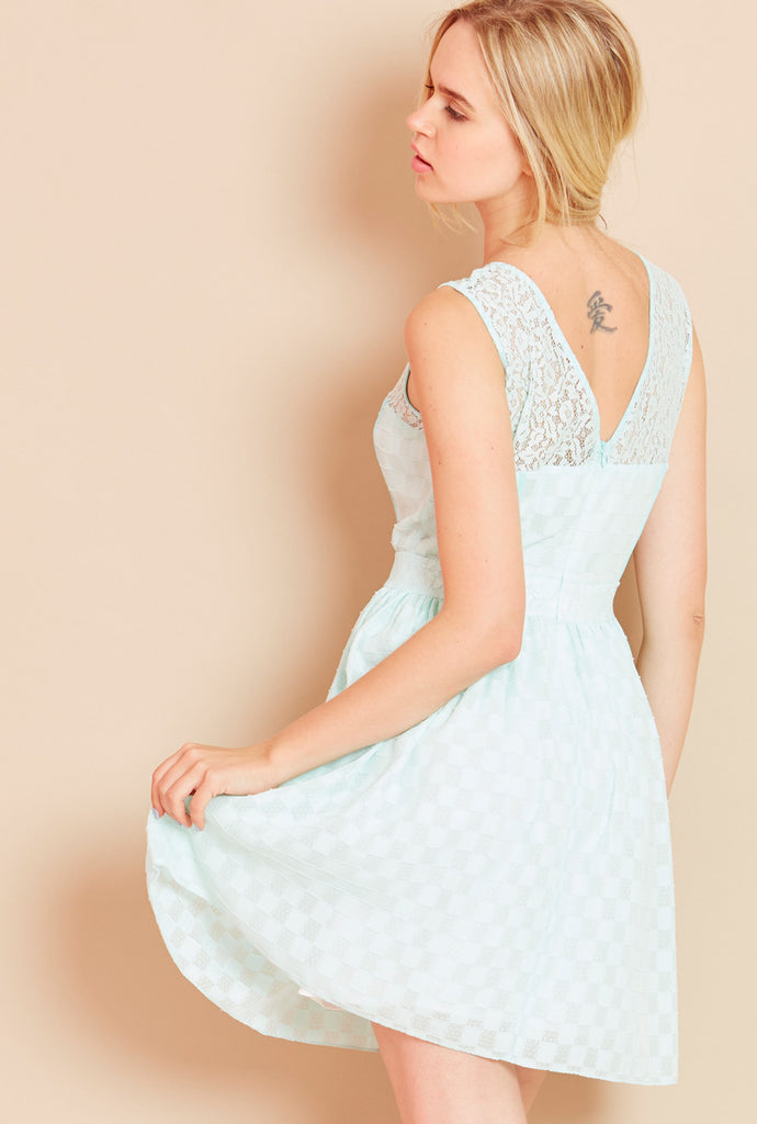 SWEET SORBET<BR> Waffle Skater Dress in Mint