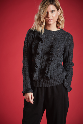 BRIANNA RUFFLED KNIT JUMPER IN BLACK