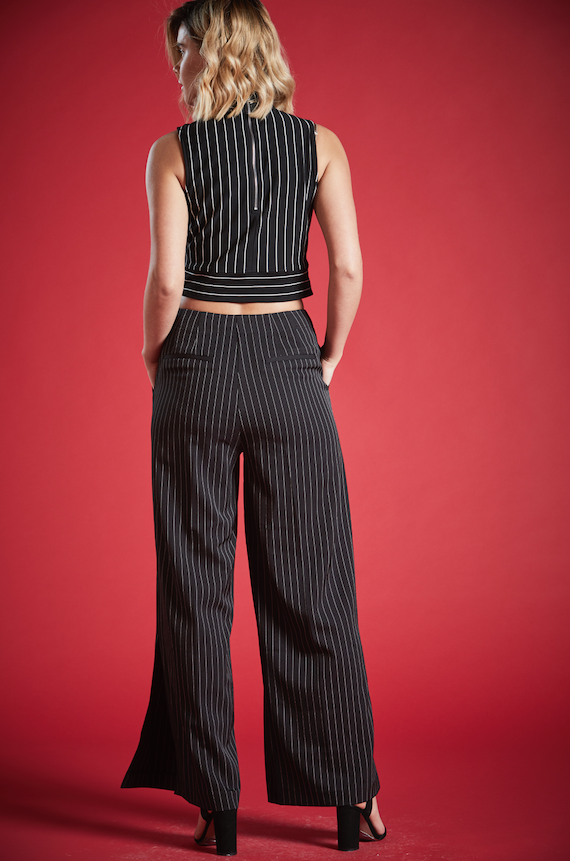 NITA WIDE LEG PINSTRIPE TROUSERS IN BLACK