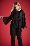 MAYHEW BELL SLEEVE RUFFLE TOP IN BLACK