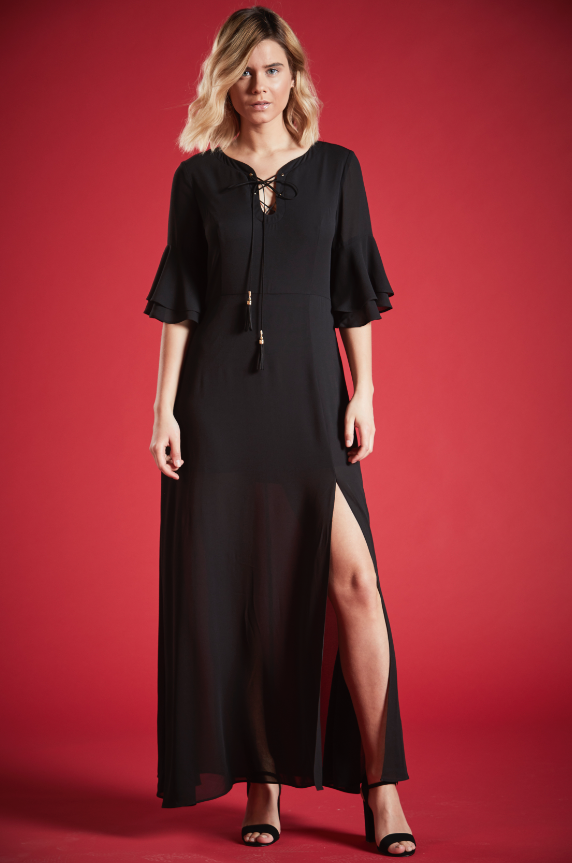 REGINA RUFFLED LACE UP MAXI DRESS IN BLACK