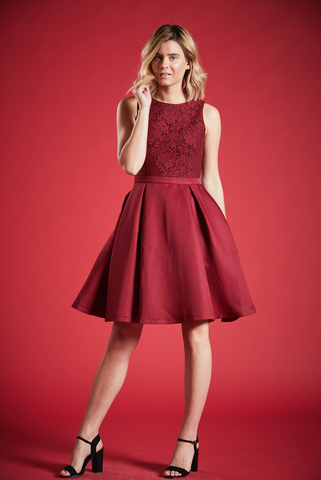 RUBY FULL SKIRT SKATER DRESS IN BURGUNDY