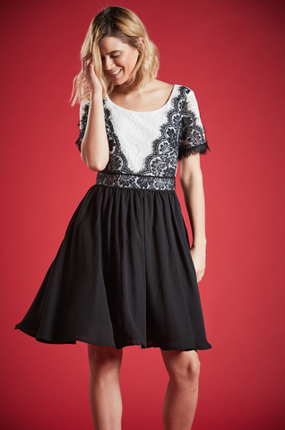 MONARCH MONOCHROME LACE DRESS IN BLACK