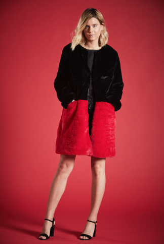 BETH CONTRASTING FAUX FUR COAT IN BLACK AND RED