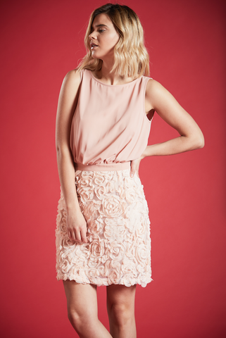 KUNZITE RUCHING DETAIL DRESS IN PINK