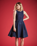 RUBY FULL SKIRT SKATER DRESS IN DEEP BLUE