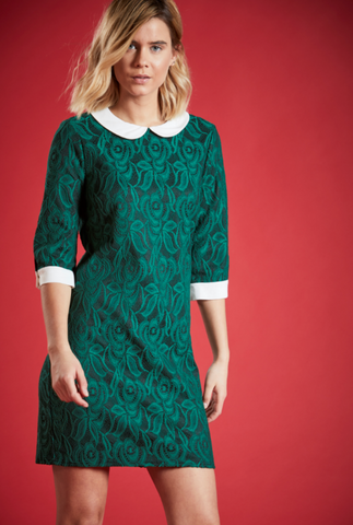 KYSTAL LACE FLORAL DRESS IN EMERALD GREEN