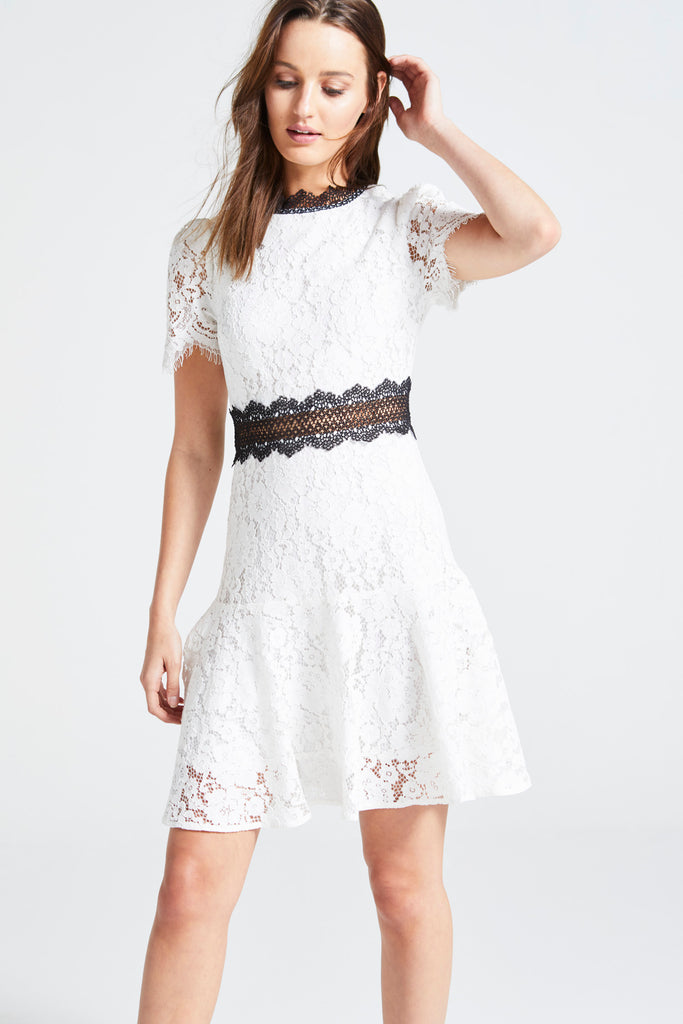 WHITE LACE 'KRISTY' DRESS WITH BLACK DETAIL