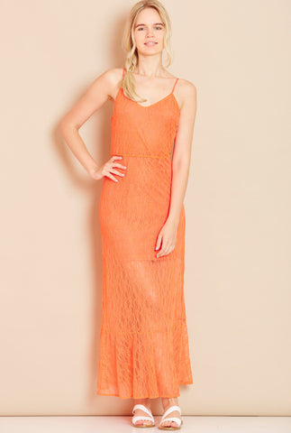 VALENTINA Open Back Lace Maxi Dress in Coral