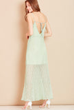 VALENTINA<BR> Open Back Lace Maxi Dress in Green