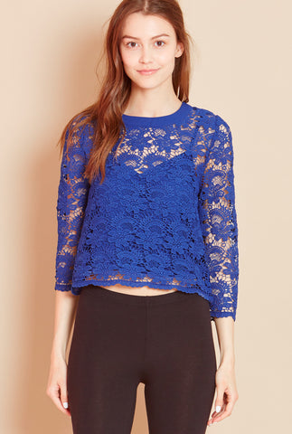 VINEYARD Crochet Lace Top in Navy