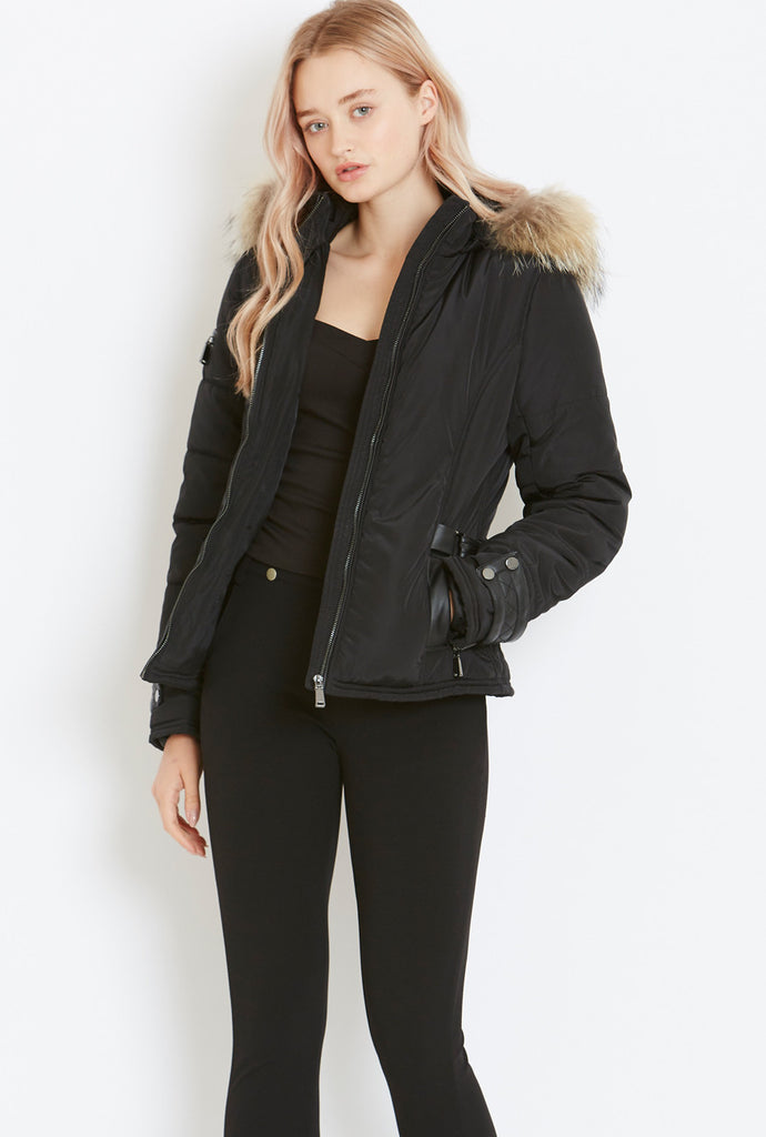 Style London Puffer Jacket with Fur Trim in Black
