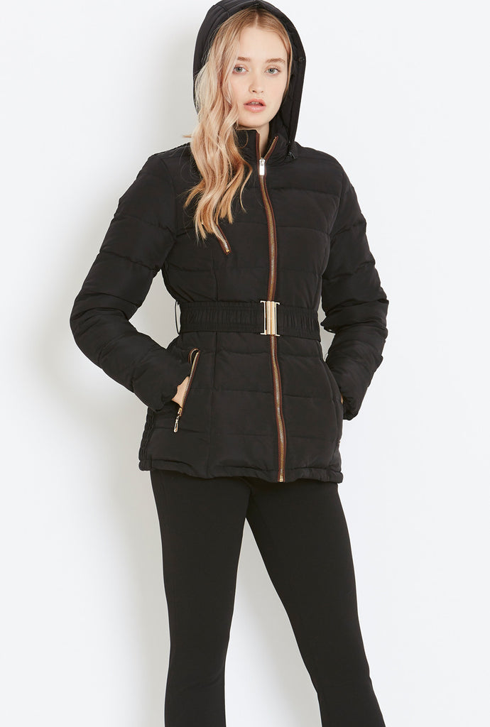 Style London Belted Puffer with Fur Trim in Black