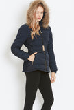 Style London Belted Puffer Jacket with Fur Trim in Navy