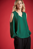 AVELLANA COLD SHOULDER BLOUSE IN EMERALD GREEN