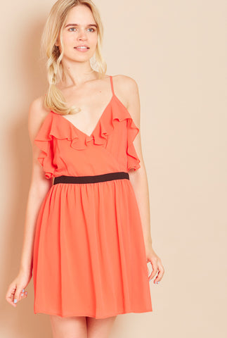 WANDERLUST<BR> Frill Dress with Strappy Back in Coral