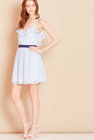 WANDERLUST<BR> Frill Dress with Strappy Back in Blue