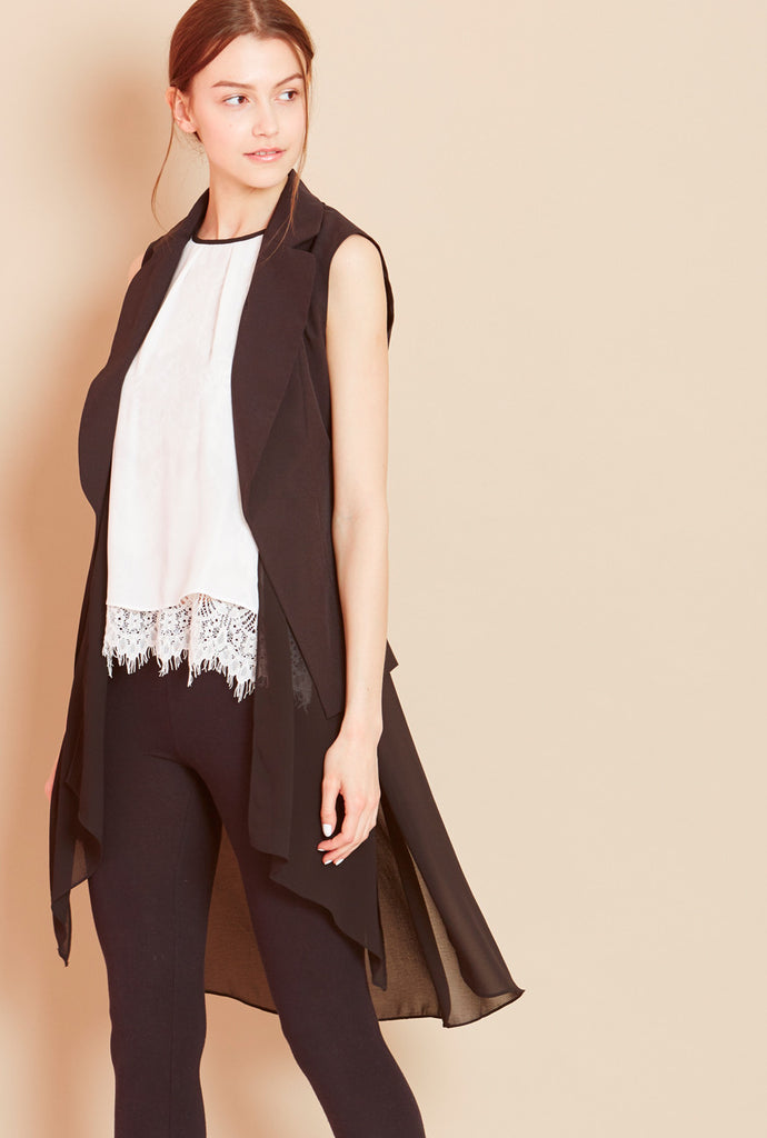 WHISTLE<BR> Sheer Back Sleeveless Jacket
