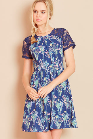 WISHES Lace Detail Floral Dress in Navy