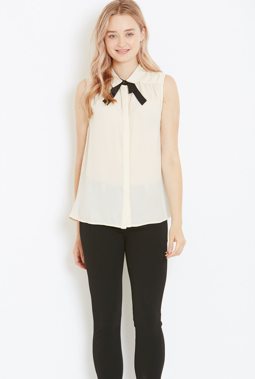 Style London Pussy-Bow blouse in Nude