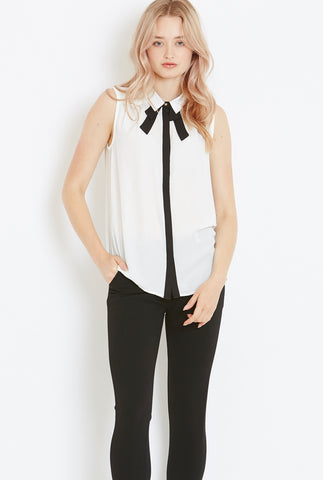 Style London Pussy-Bow blouse in white