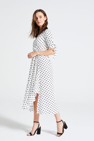 WHITE POLKA DOT 'ENSELL' MIDI WRAP DRESS