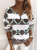 V-neck Geometric Print Long Sleeve Sweatshirt Tops-4