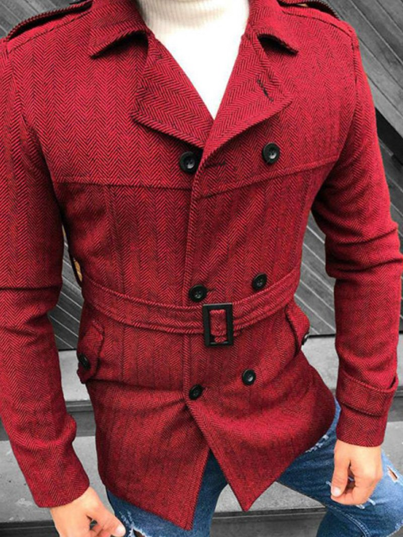 Mens Fashionable Pure Color Casual Coat