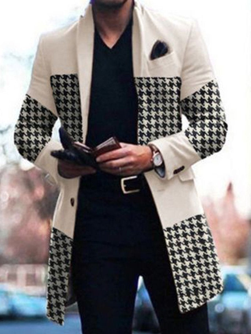 Patchwork Houndstooth Print Jacket