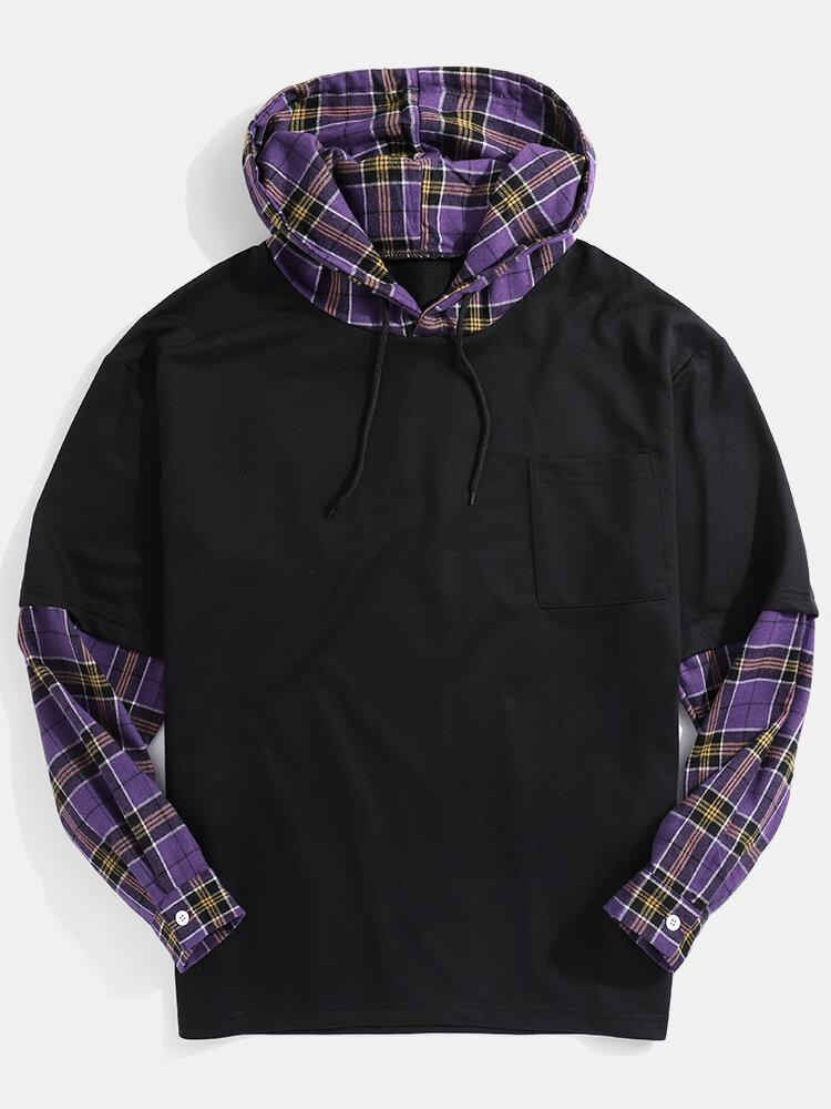 Mens Plaid Patchwork Doctor Sleeve Chest Pocket Drawstring Hoodies