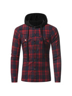 Slim-fit Casual Plaid Long-sleeved Hooded Two-pocket Shirt