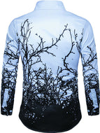 Men's Personalized Branch Print Long Sleeve Shirt