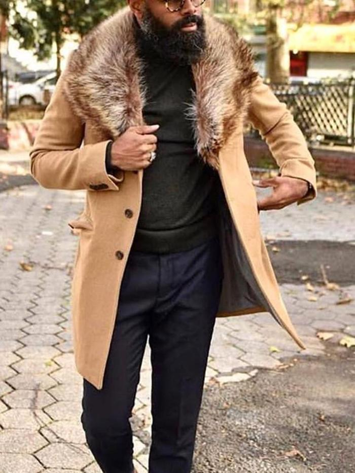 Lapel Plain Pocket Winter Straight Coat