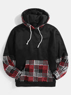 Mens Plaid Patchwork Relaxed Fit Kangaroo Pocket Drawstring Hoodies