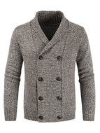 Long Sleeve Solid Color Fashion Casual Double Breasted Cardigan Men's Sweater