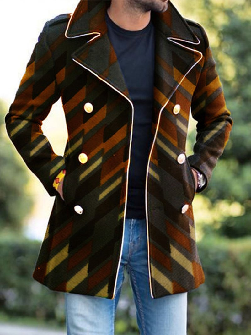 Mens Fashion Casual Color Contrast Stitching Coat