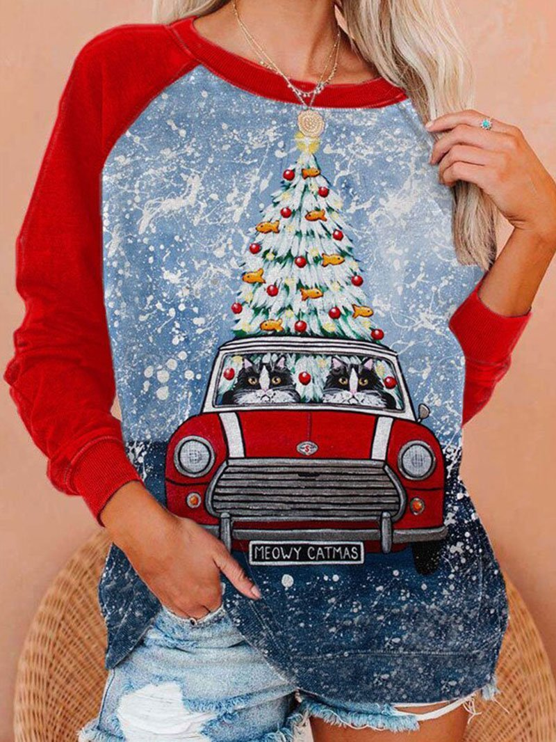 Christmas Tree Car Pattern Crew Neck Long Sleeve Tops