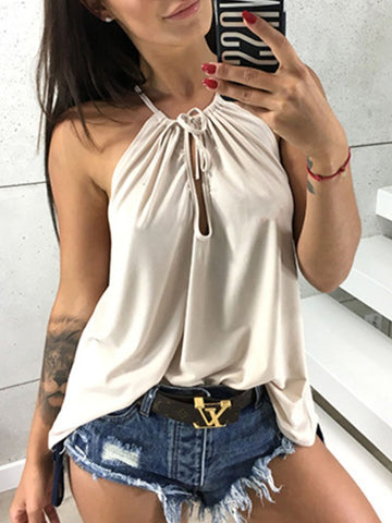 Women's Solid Color Lace-up Camisole Tops