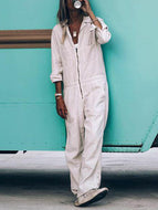Cotton and Linen Solid Color Jumpsuit