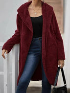 Solid color hooded double-sided fleece open coat