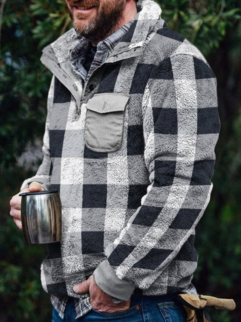 Long-sleeved Men's Loose-fitting Plaid Stand Collar Casual Padded Sweatshirt