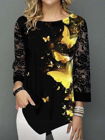 Butterfies Print Lace Sleeve Pullover Tunic Tops