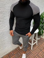 Striped Stitching Slim Long-sleeved Pullover Turtleneck Knitted Men's Sweater