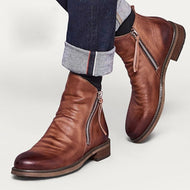 Men's Boots with Double Side Zippers and Non-Slip Soles